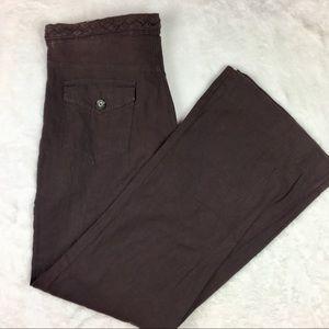 Banana Republic 100% Linen Brown Braided Pants 8